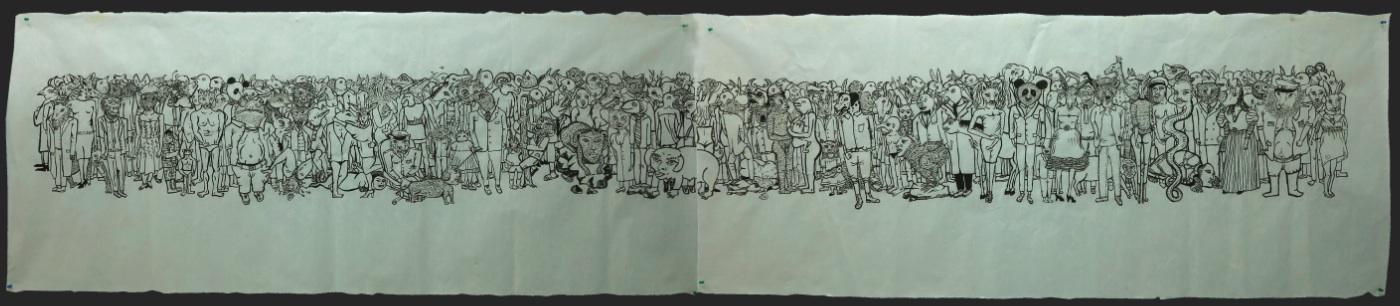 Cao Yingbin 曹应斌, Strange World No.2 异世界二, 2012, Ink on handmade paper 手工纸上墨色, 41 x 143 cm