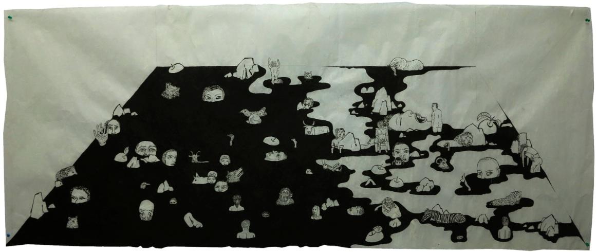 Cao Yingbin 曹应斌, , Void and Stillness 无无明净, 2012, Ink on handmade paper 手工纸墨色, 79 x 197 cm