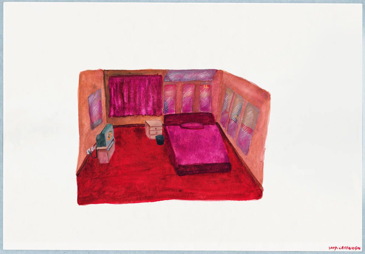Cao Yingbin 曹应斌, The Mirror in the Room 房间里的镜子, 2009, Watercolor on paper 纸上水彩, 27 x 39 cm