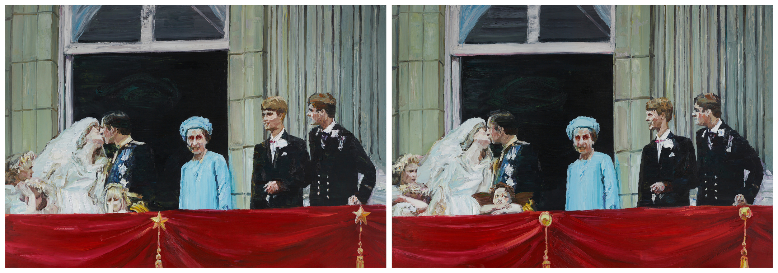 Li Qing 李青, Finding Differences · Wedding (There are 6 differences in the two paintings) 大家来找碴 · 婚礼 (两图有六处不同), 2006, Oil on canvas 布面油画, 190 x 275 cm x 2