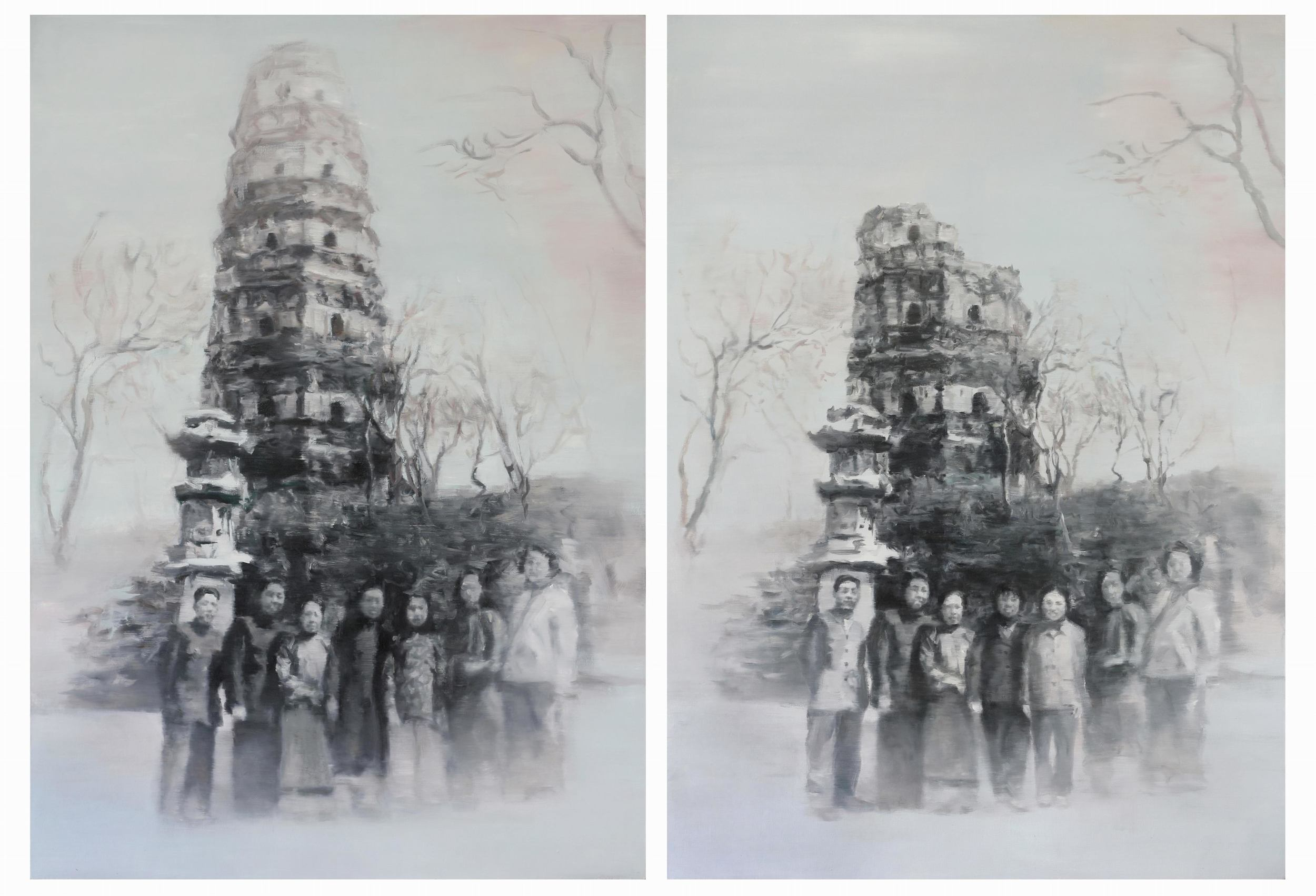 Li Qing 李青, Finding Differences · Pagoda (There are 4 differences in the two paintings) 大家来找碴 · 浮图 (两图有四处不同), 2006, Oil on canvas 布面油画