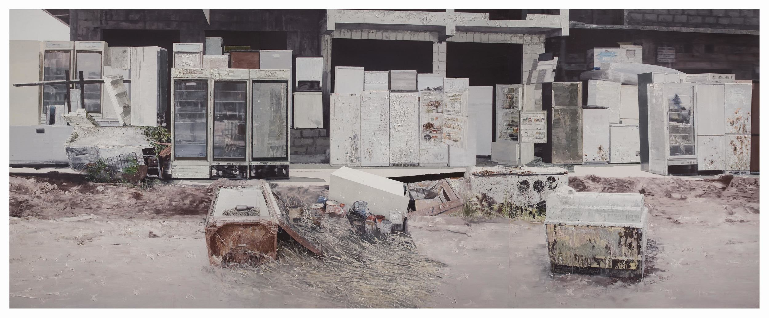 Li Qing 李青, White Group Portrait 白色群像, 2010, Oil on canvas 布面油画, 240 x 600 cm