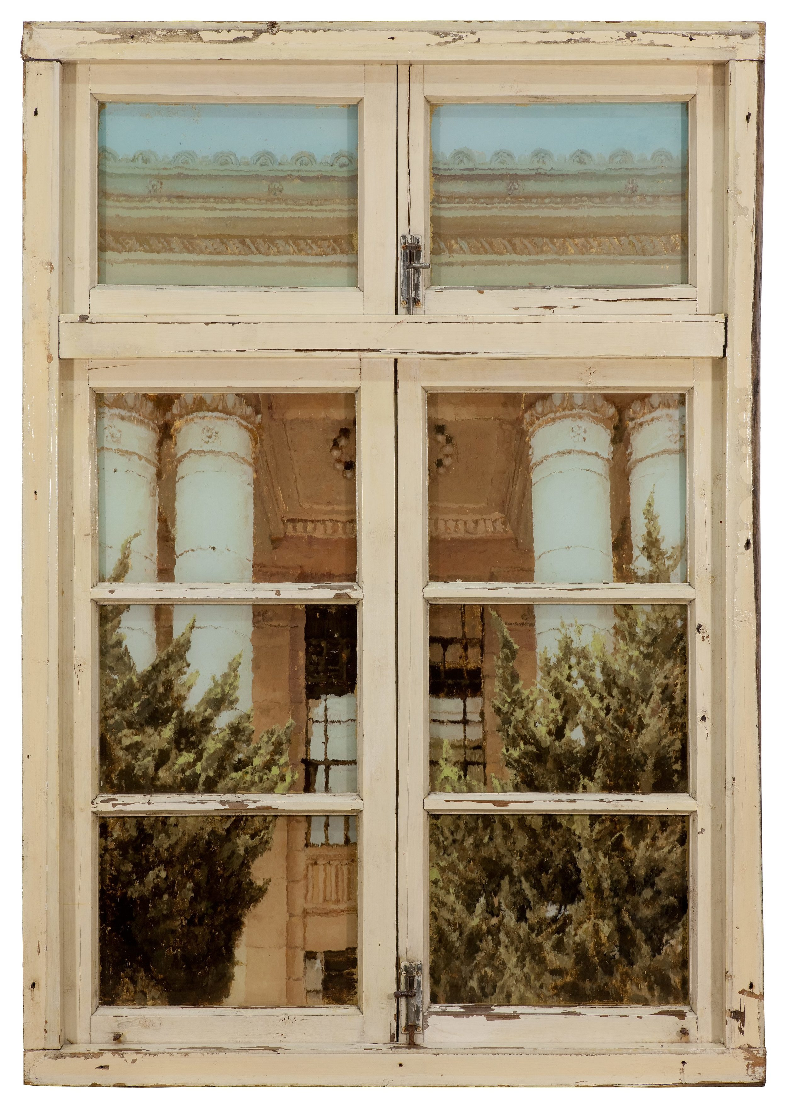 Li Qing 李青, Neighbour's Window · Moscow Style 邻窗·莫斯科风, 2013, 木、玻璃、金属、油彩 Wood, glass, metal and oil colors, 148 x 103 x 7.5 cm