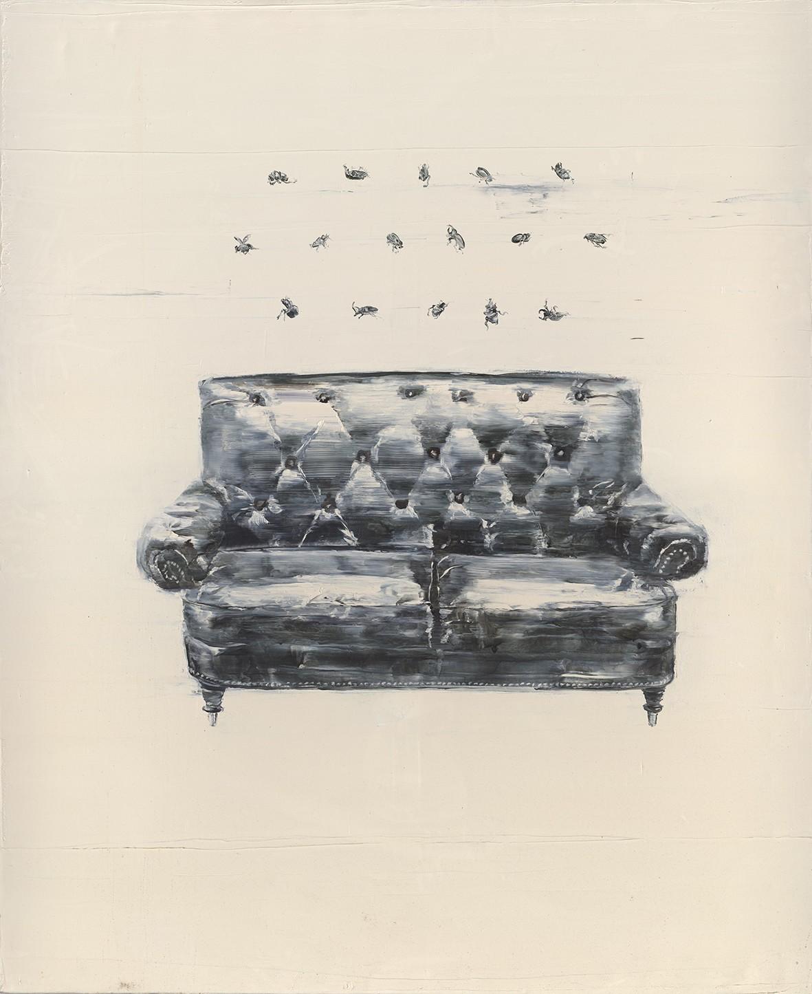 Tu Xi 涂曦, Sofa and Beetles 沙发和甲虫, 2012, Oil on canvas 布面油画, 180 x 150 cm