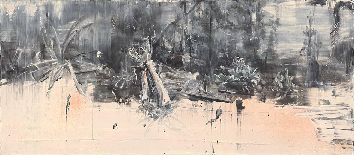 Tu Xi 涂曦, Shrubs 灌木, 2013, Oil on canvas 布面油画, 63 x 140 cm