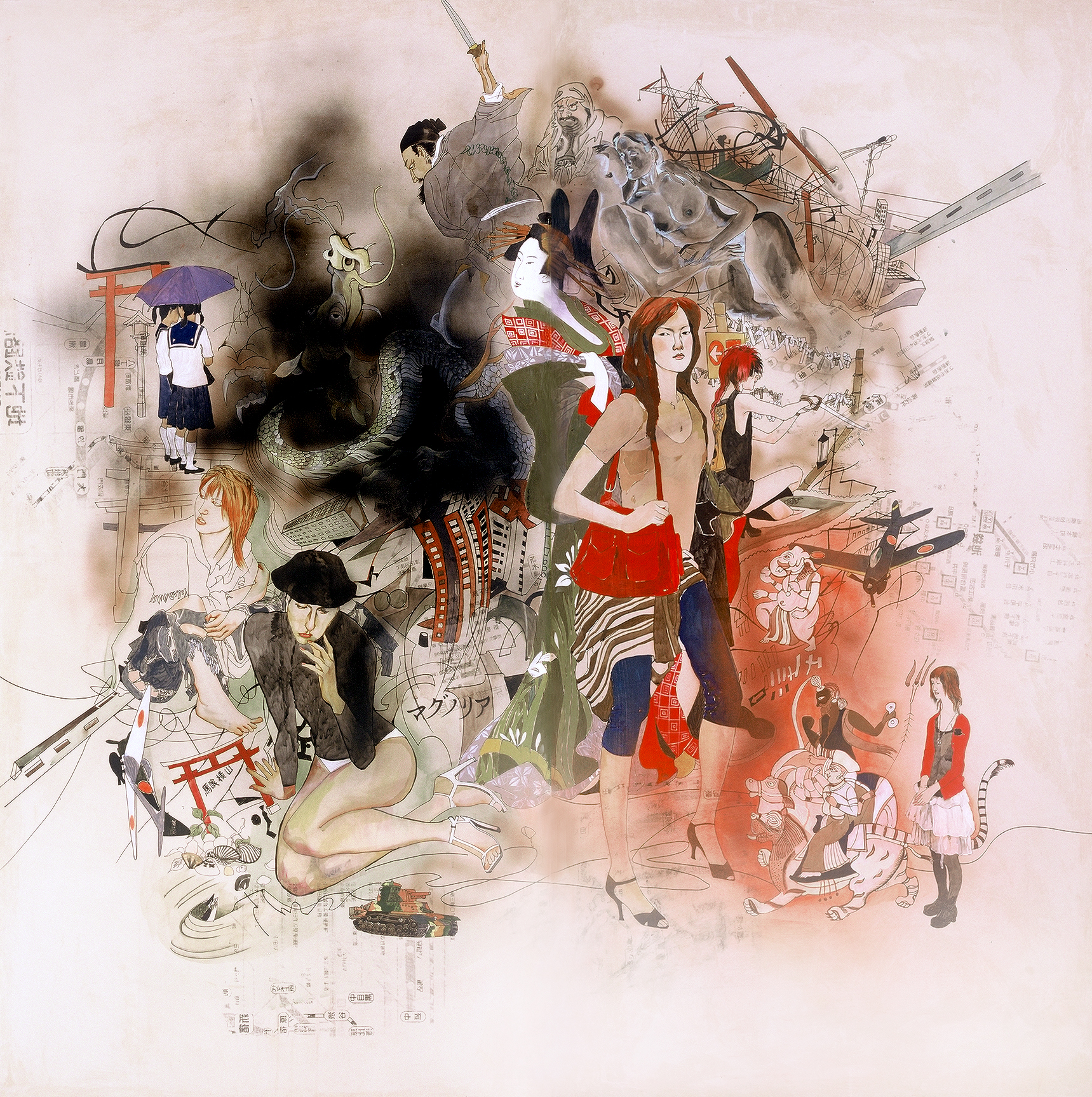 Wang Qing 王青, Tokyo Diary 东京日记, 2009, Mixed media on Japanese drafting paper and board 硫酸纸、丙烯综合材料, 170 x 160 cm