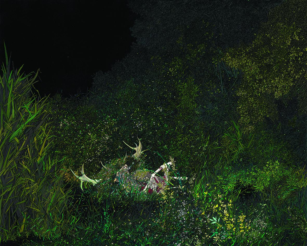 Zhou Fan 周范, Daffodil 水仙, 2012, Acrylic on canvas 布面丙烯, 80 x 160 cm