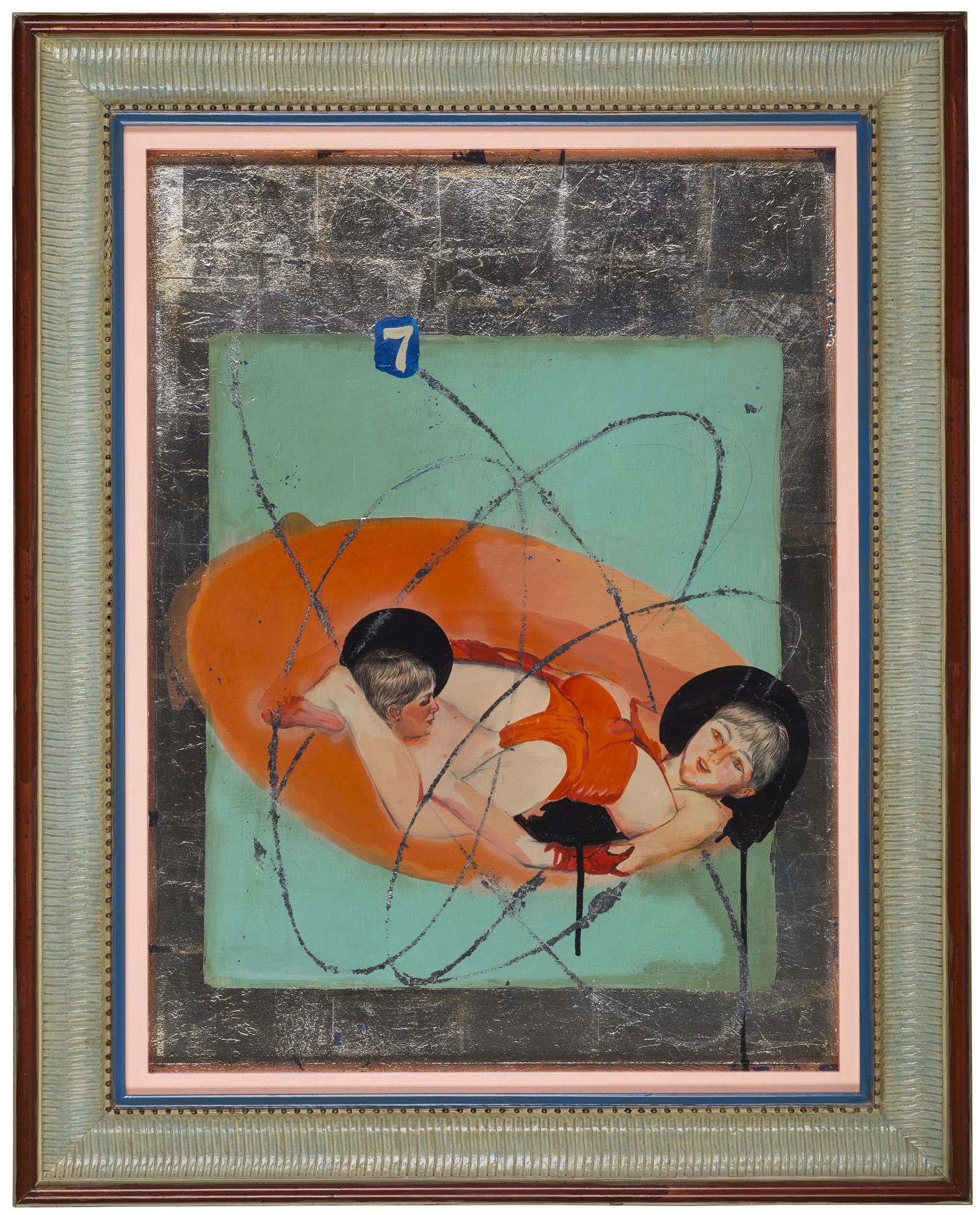 Wu Di 吴笛, Everything Is Beautiful in the Legend 传说一切都很美, 2014, Acrylic on board and silver foil 木板丙烯、银箔, 60 x 45 cm
