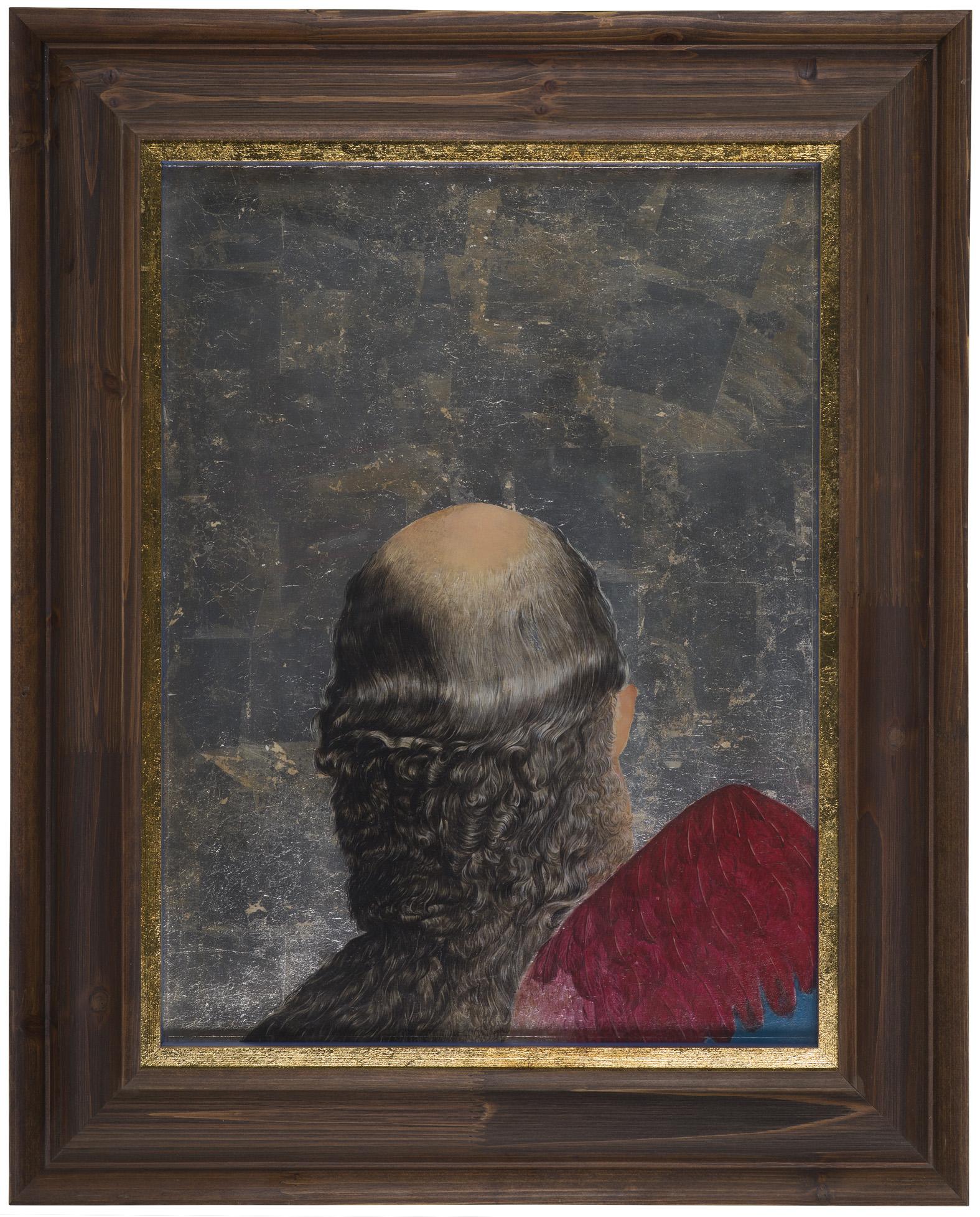 Wu Di 吴笛, Peace of Shit, 2014, Oil on board and silver foil 木板油画、银箔, 60 x 45 cm