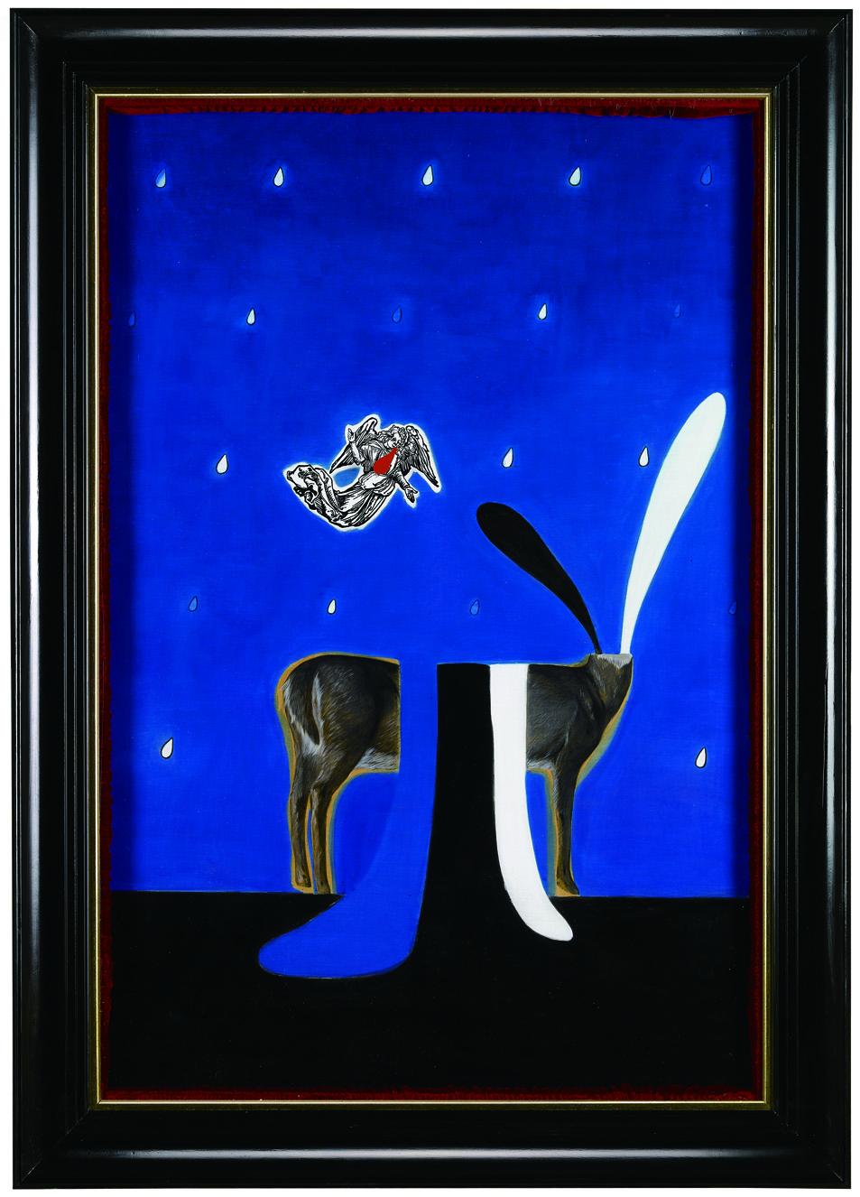 Wu Di 吴笛, Goodbye 再见, 2011, Mix media on board 木板综合材料, 90 x 60 cm