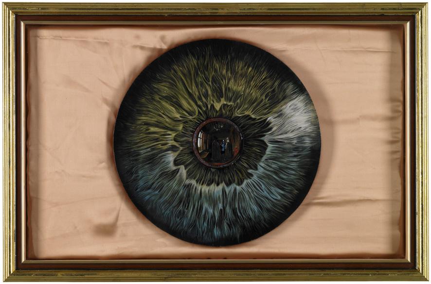 Wu Di 吴笛, Eye 眼睛, 2013, Oil on wood, presswork and silk, 47 x 75 cm