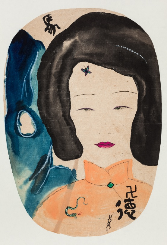 Wang Mengsha 王濛莎, Opps!, 2014, Chinese ink and color on rice paper 纸本水墨设色, 71 x 38 cm