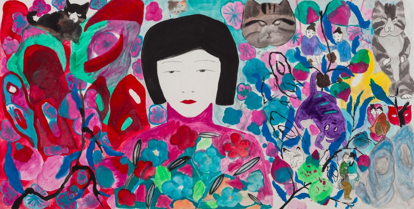 Wang Mengsha 王濛莎, The Cat Forest 猫咪森林, 2014, Chinese ink and color on rice paper 纸本水墨设色, 89 x 210 cm