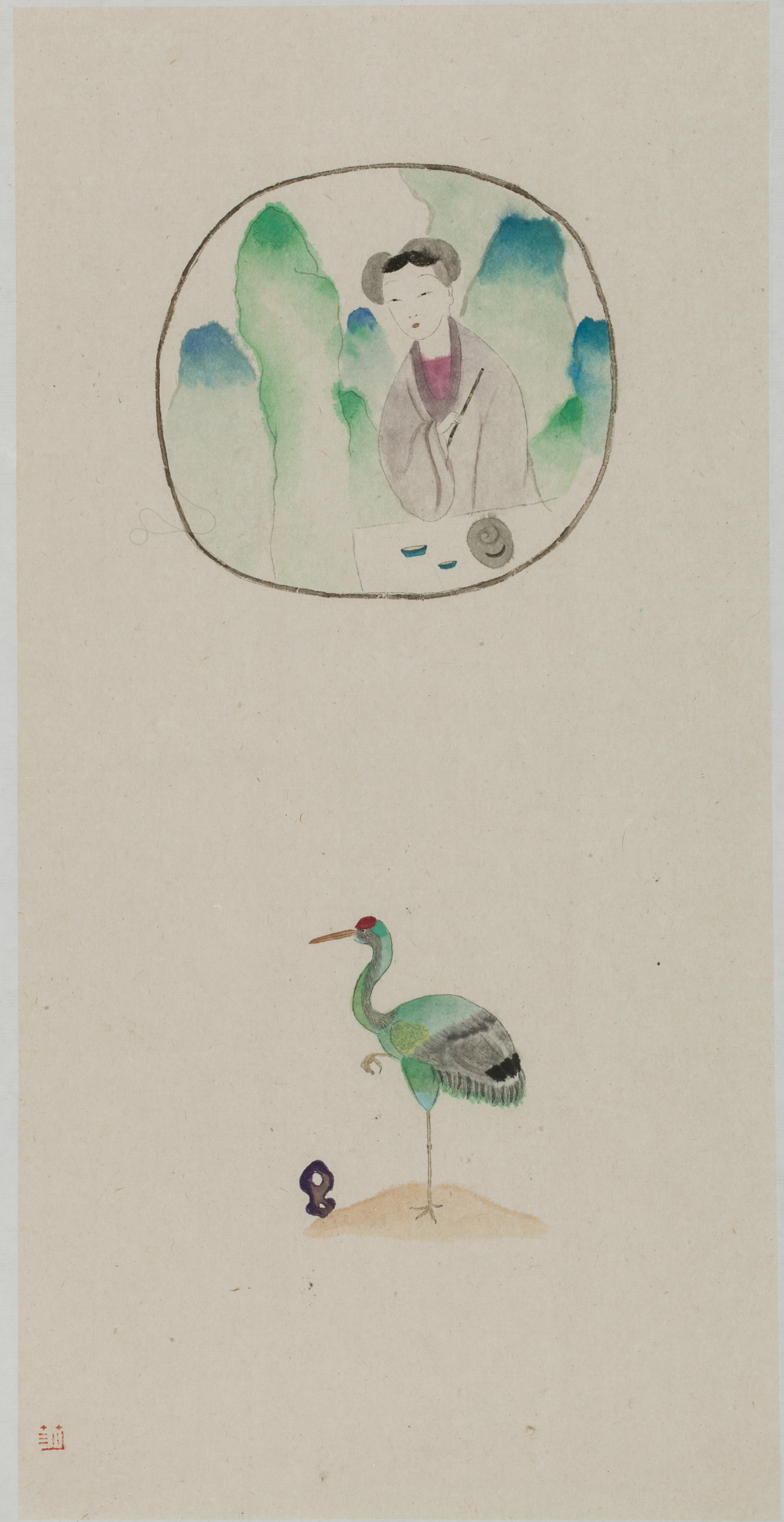 Wang Mengsha 王濛莎, Window Lattice 窗棂, 2013, Chinese ink and color on rice paper 纸本水墨设色, 68 x 35 cm