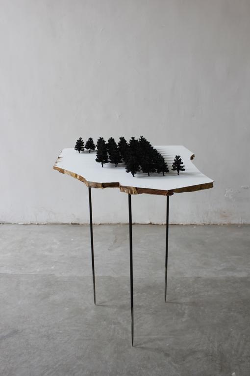 Yang Xinguang 杨心广, Forest 1 森林1, 2011, Plywood and tree models 胶合板与树模型, 240x 65 x 102 cm