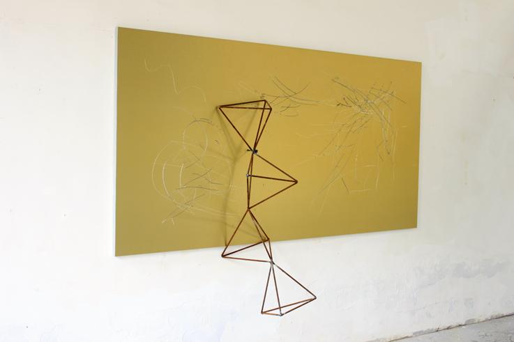 Yang Xinguang 杨心广, Golden No.9 金色9, 2014, Aluminium plastic board, iron and wood 铝塑板 、木、铁, 244 x 160 x 53 cm