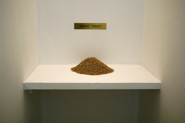 Yang Xinguang 杨心广, Counting Sand 数沙子, 2009, Sand, aluminium and plastic 沙子、铝和塑料, Dimension variable 尺寸可变