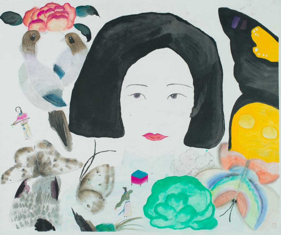 Wang Mengsha 王濛莎, Dreaming Butterfly 蝶梦系列, 2013, Chinese ink and color on rice paper 纸本水墨设色, 100 x 120 cm