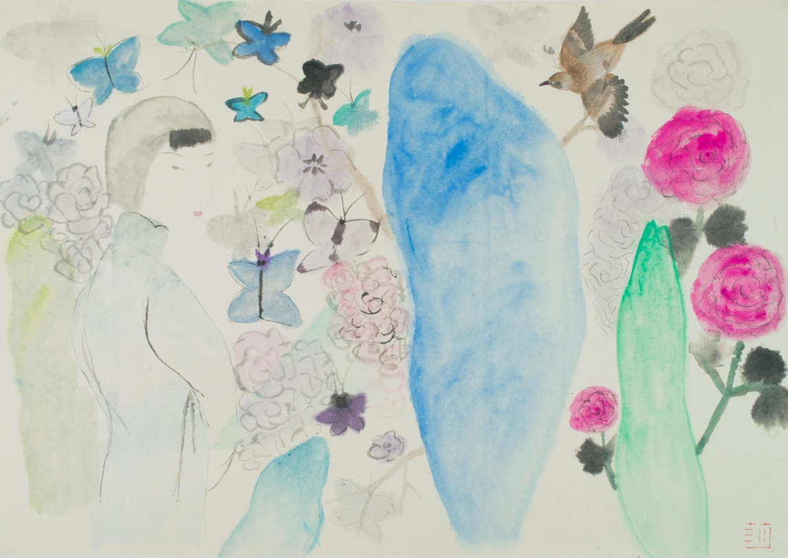 Wang Mengsha 王濛莎, Dreaming Butterfly 蝶梦系列, 2013, Chinese ink and color on rice paper 纸本水墨设色, 78 x 112 cm