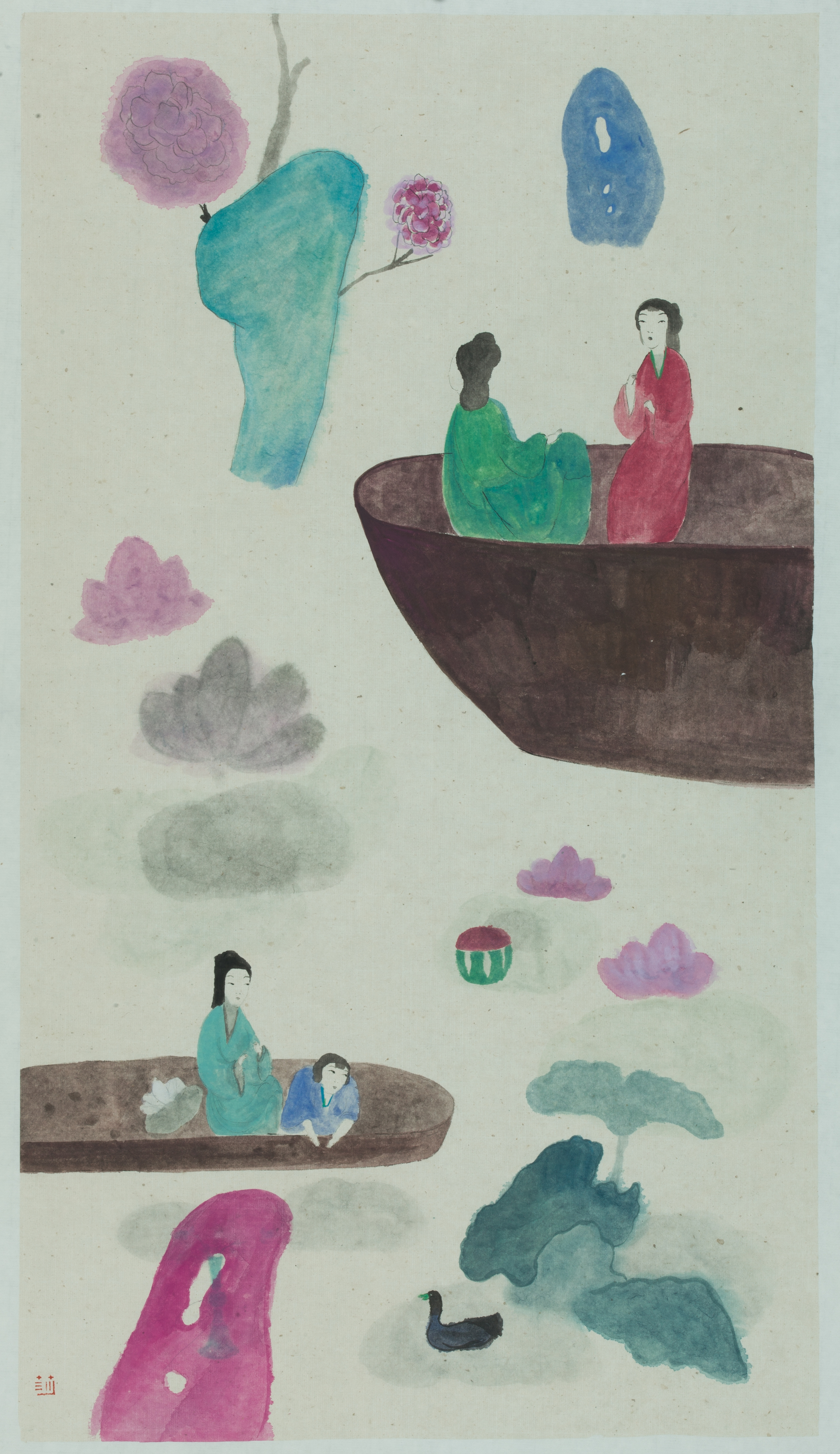 Wang Mengsha 王濛莎, Double Plum Blossoms 双梅景暗, 2013, Chinese ink and color on rice paper 纸本水墨设色, 69 x 38 cm