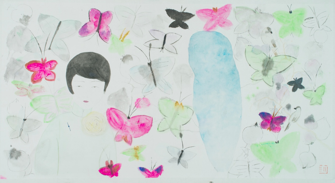 Wang Mengsha 王濛莎, Dreaming Butterfly 蝶梦系列, 2013, Chinese ink and color on rice paper 纸本水墨设色, 74.3 x 141 cm