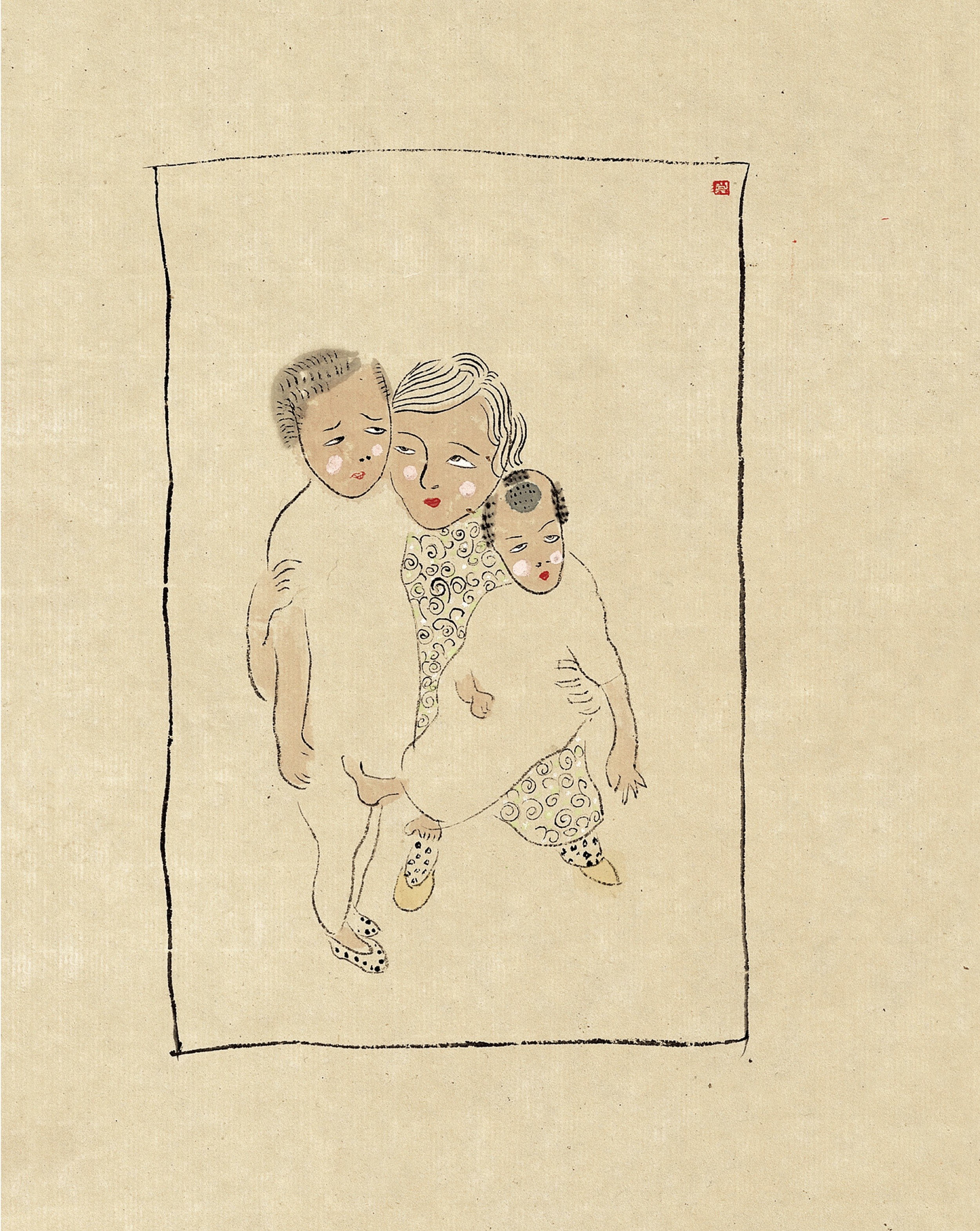 Wang Mengsha 王濛莎, Flowing Time 新似水年华系列, 2008, Chinese ink and color on paper 纸本水墨设色, 48 x 77 cm