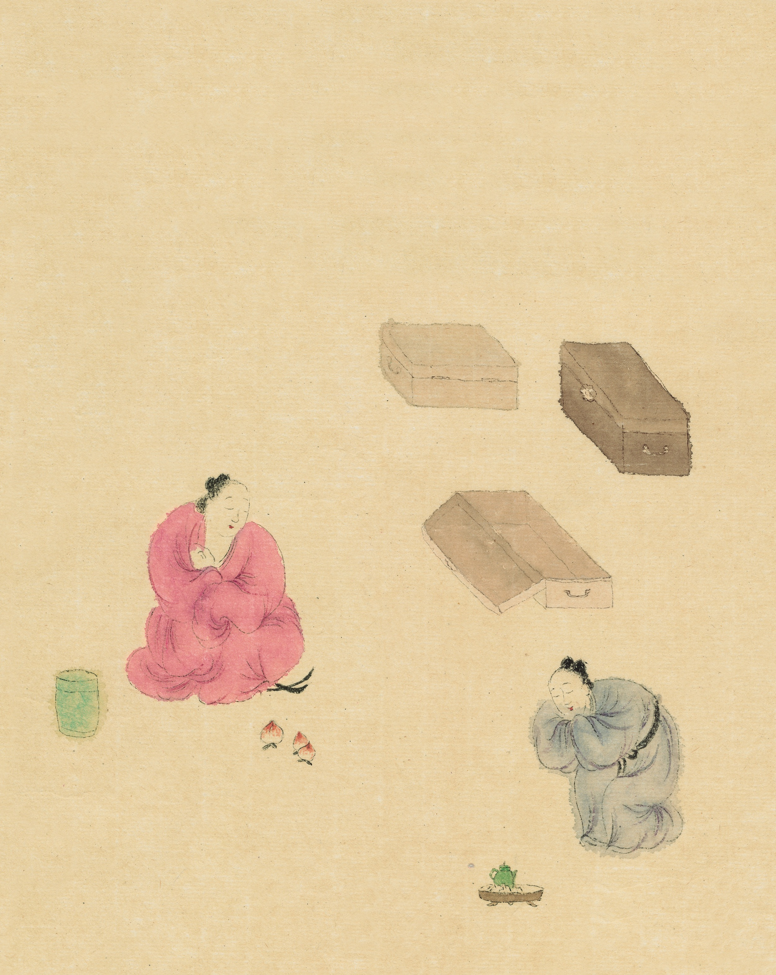 Wang Mengsha 王濛莎, The Isalnd of Peach Blossoms 桃花岛系列, 2009, Chinese ink and color on rice paper 纸本水墨设色, 60 x 65 cm