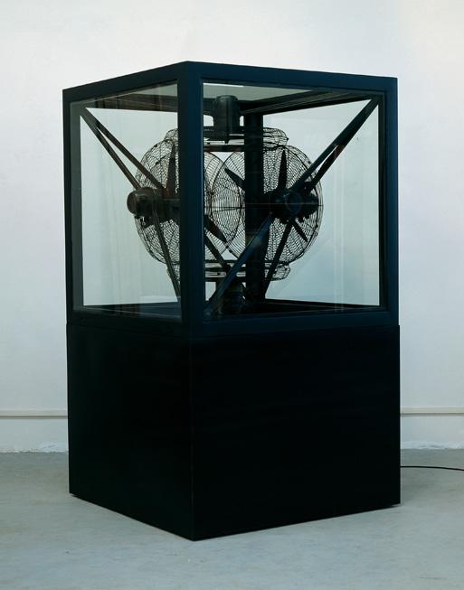 Gao Weigang 高伟刚, Buzz No.2 嗡嗡嗡二号, 2008, Electric installation, steel and glass 电动装置、钢、玻璃, 236 x 135 x 135 cm