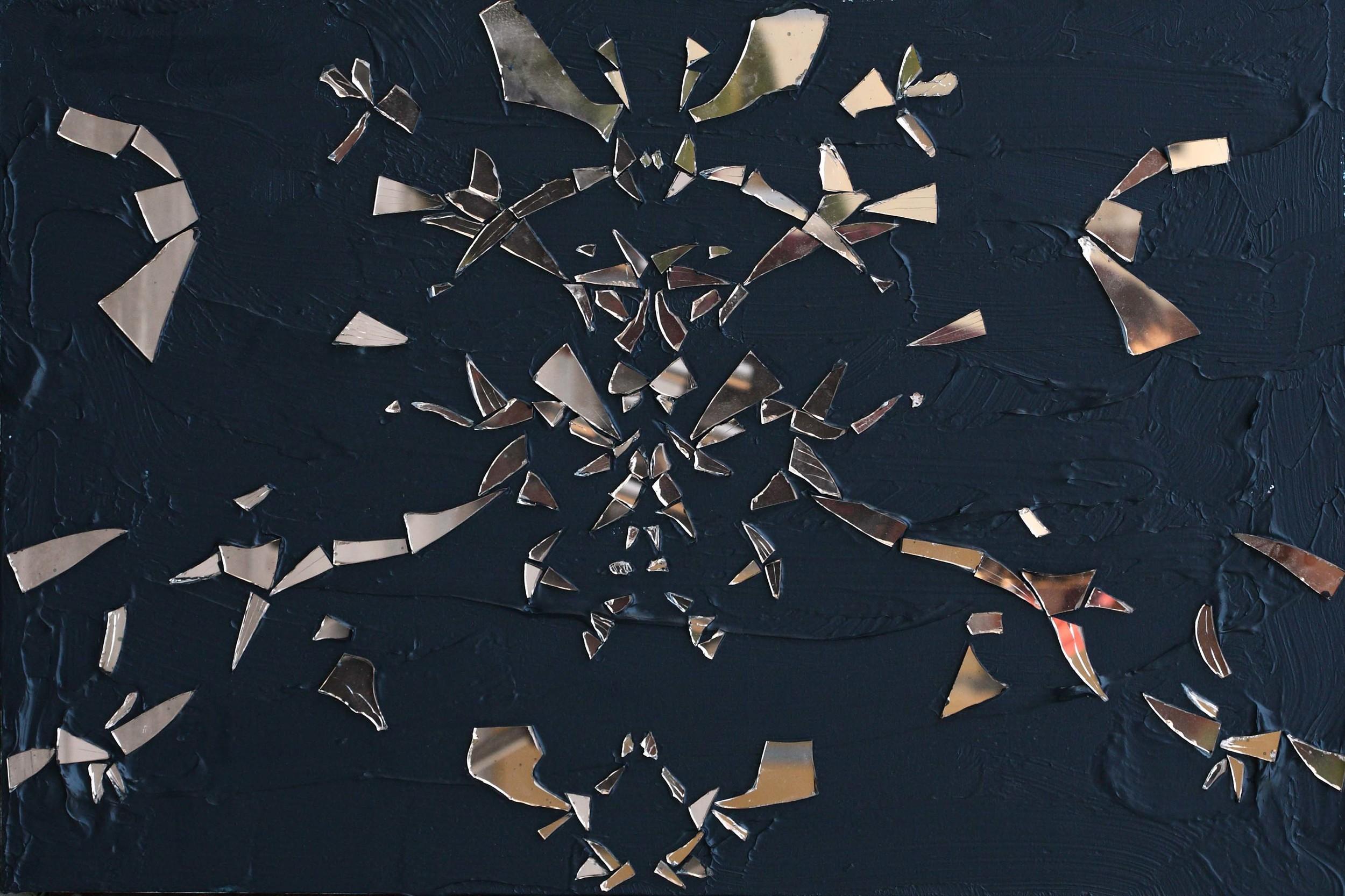 Gao Weigang 高伟刚, Vice 恶习, 2012, Acrylic on canvas and mirror 布面丙烯、镜子, 60 x 90 cm
