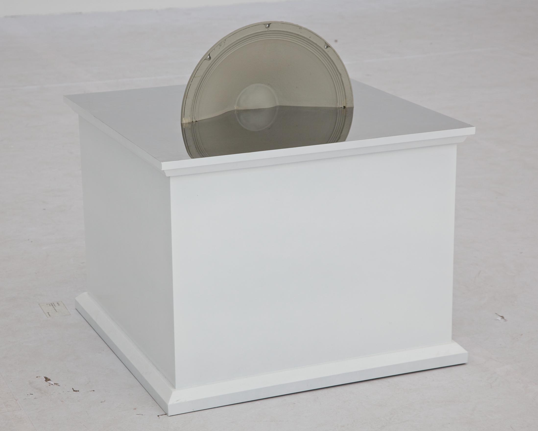 Ji Zhou 计洲, Object - Half a Speaker 物 - 半个喇叭, 2013, half a speaker and mirrored stainless steel 半个喇叭、镜面抛光钢板