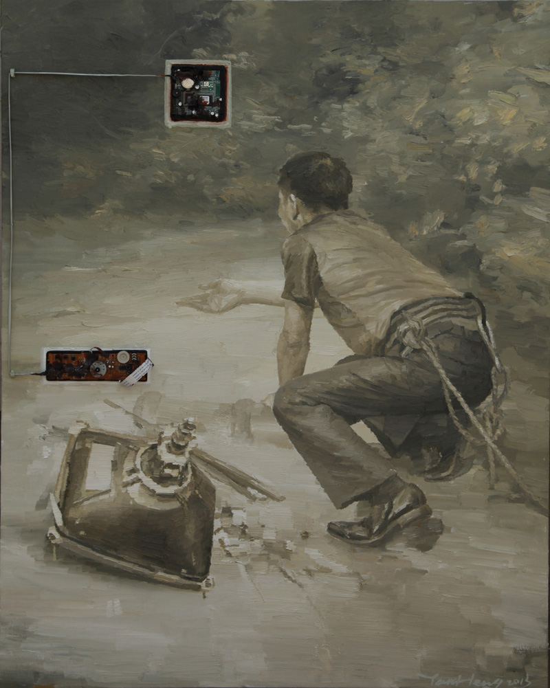 Yan Heng 闫珩, The Other Side No.2 异端 2, 2013, Mixed media and oil on canvas 布面油画装置, 100 x 80 cm