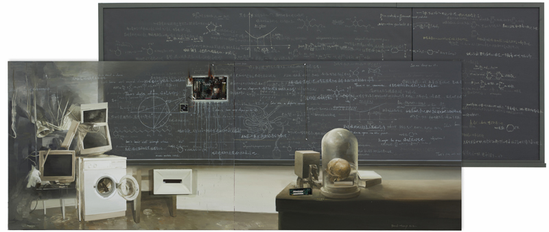 Yan Heng 闫珩, Black Screen No.6 黑屏 6, 2012, Mixed media and oil on canvas 布面油画装置, 210 x 450 cm
