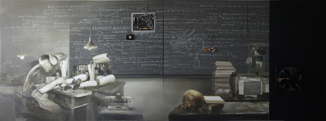 Yan Heng 闫珩, Black Screen No.7 黑屏 7, 2012, Mixed media and oil on canvas 布面油画装置, 150 x 400 cm