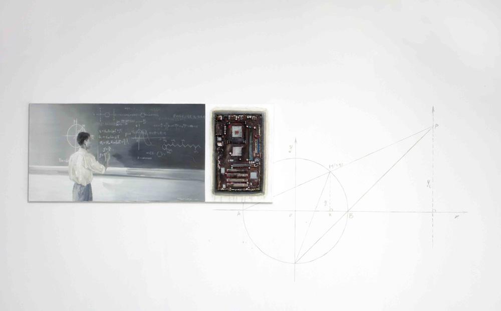 Yan Heng 闫珩, Geometry 几何, 2011, Mixed media and oil on canvas 油画布面综合材料, 40 x 100 cm