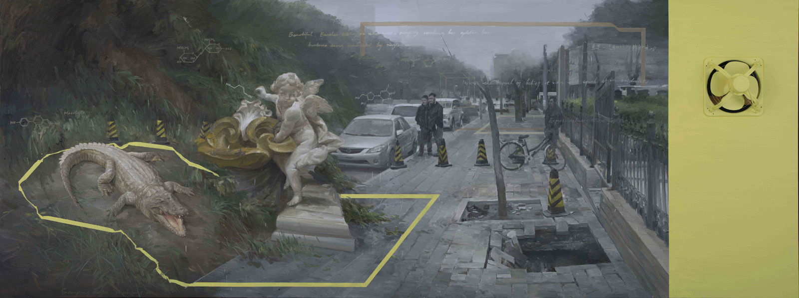 Yan Heng 闫珩, Shenyang Forest 沈阳森林, 2013-14, Mixed media and oil on canvas 布面油画装置, 150 x 400 cm