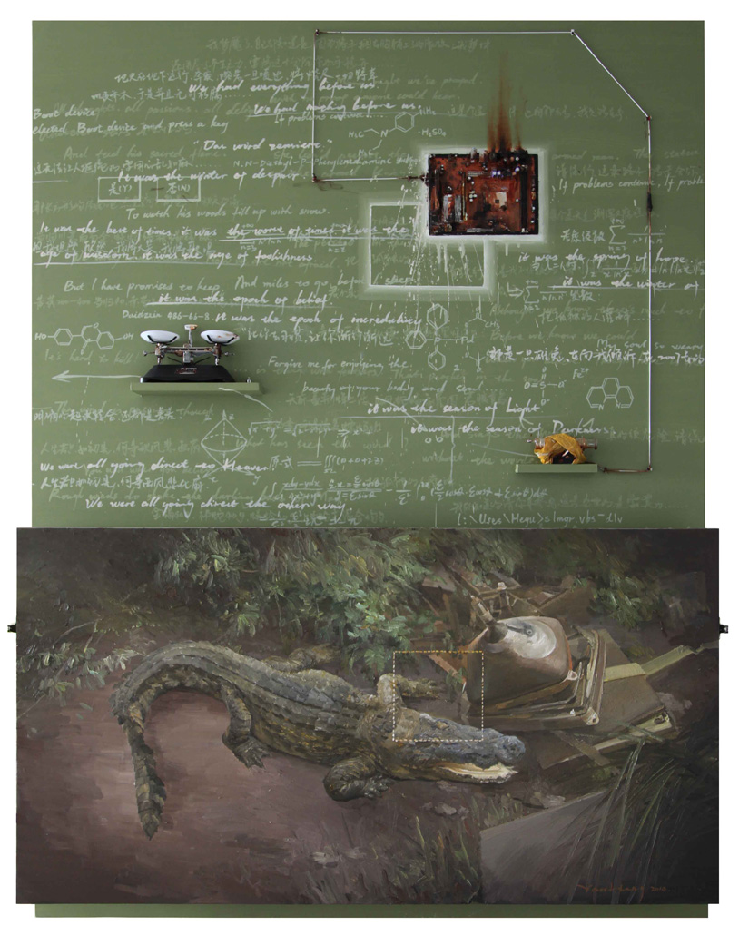 Yan Heng 闫珩, Strong Drug 猛药, 2012, Mixed media and oil on canvas 布面油画装置, 200 x 150 cm