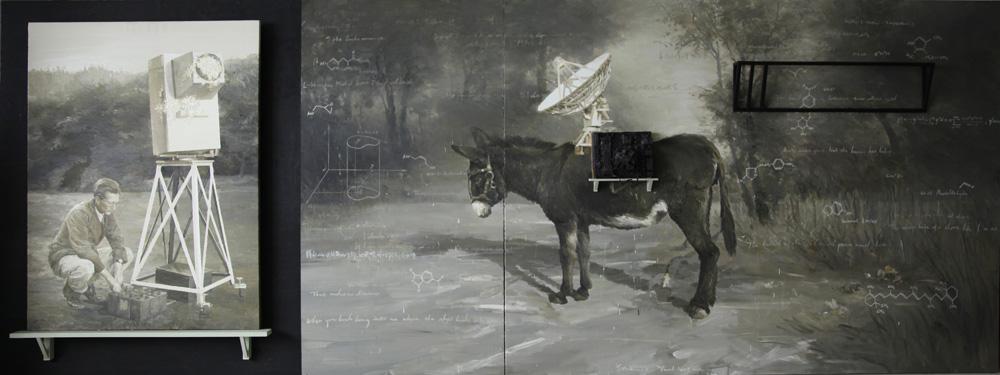 Yan Heng 闫珩, Stamen No.1 雄蕊 1, 2013, Mixed media and oil on canvas 布面油画装置, 150 x 400 cm