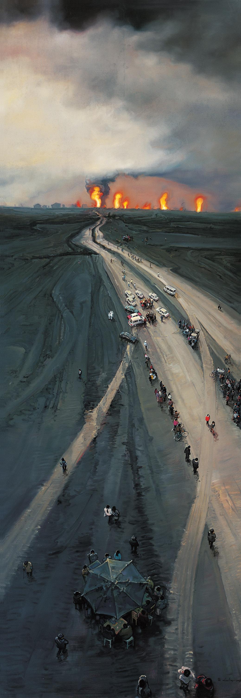 Zhou Jinhua 周金华, Half in the Morning and Half at Dusk 一半是清晨, 一半是黄昏, 2009, Oil on canvas 布面油画, 400 x 140 cm