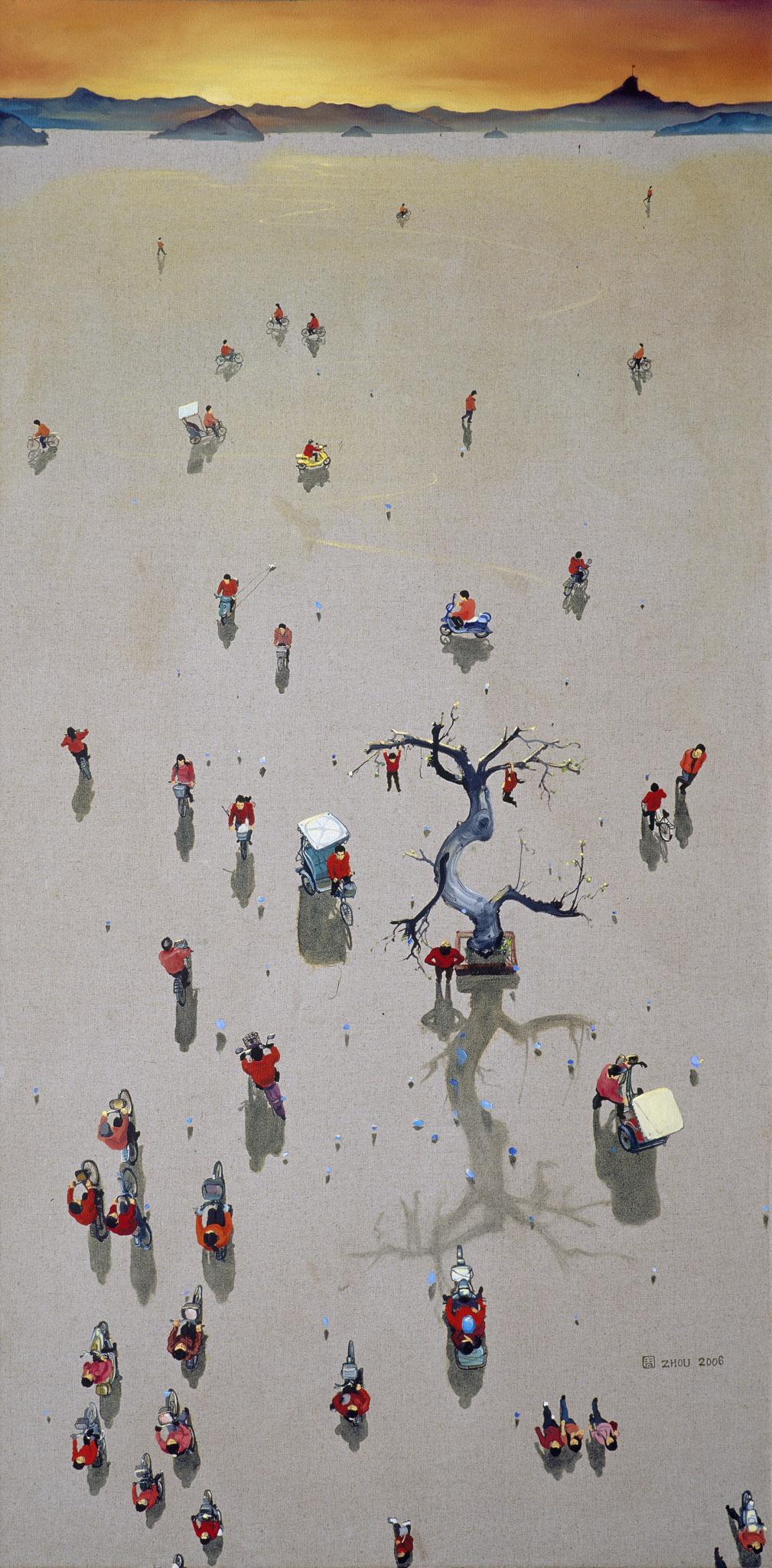 Zhou Jinhua 周金华, In the Evening No.8 人在黄昏 No.8, 2006, Oil on canvas 布面油画, 150 x 75 cm