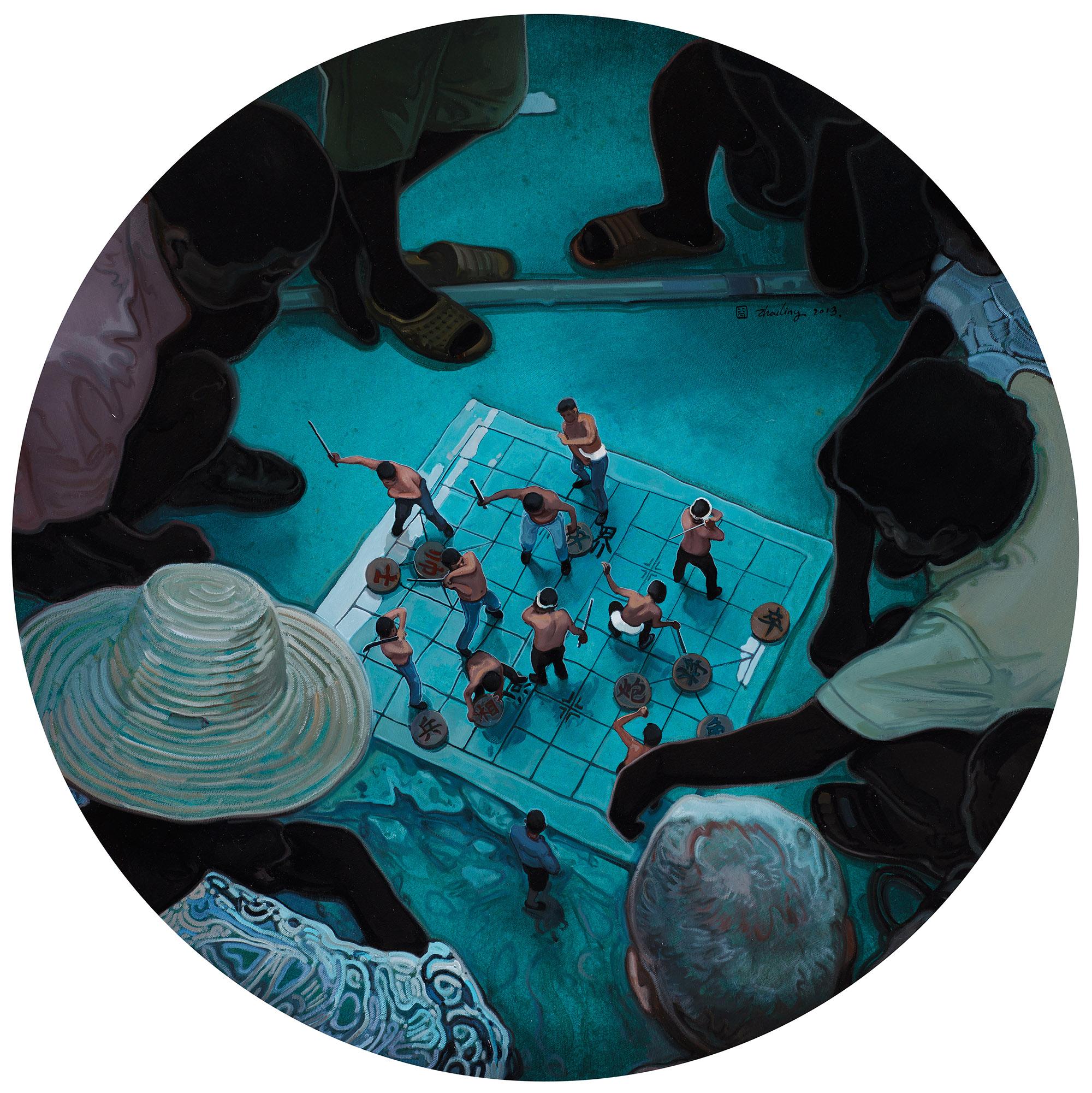 Zhou Jinhua 周金华, Chess Game - Blue 局-青, 2013, Oil on canvas 布面油画, Dia 100 cm
