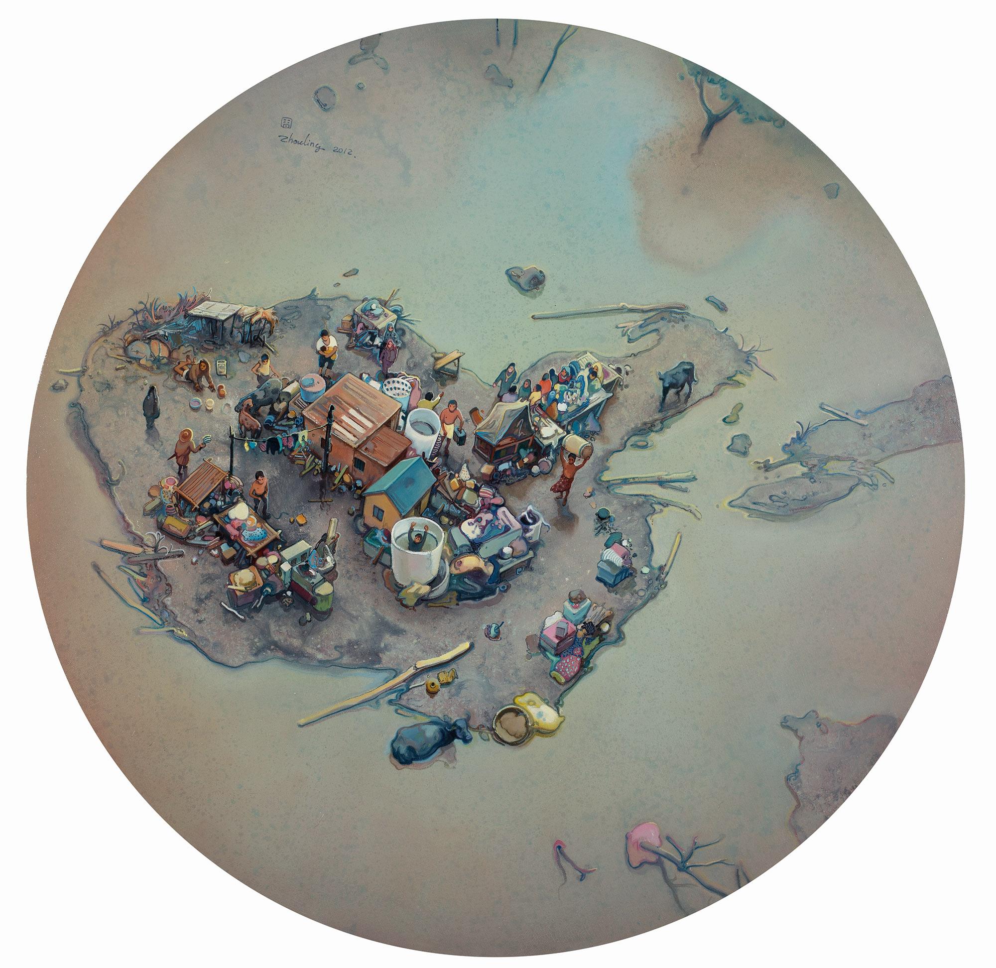 Zhou Jinhua 周金华, Landscaping Life No.1 景观生活 No.1, 2012, Oil on canvas 布面油画, Dia 100 cm