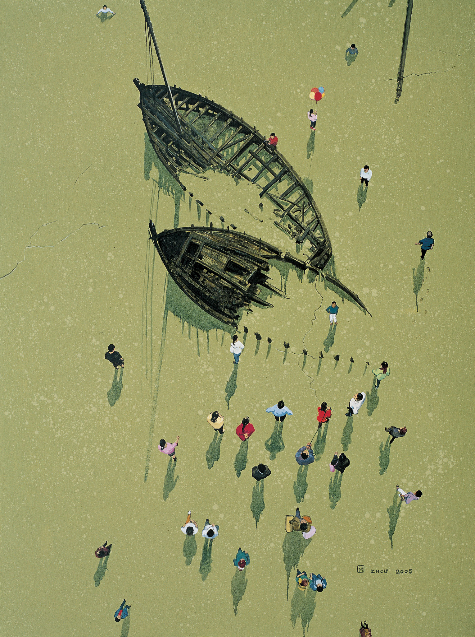 Zhou Jinhua 周金华, Shipwrecks No.1 沉船 No.1, 2006, Oil on canvas 布面油画, 145 x 110 cm