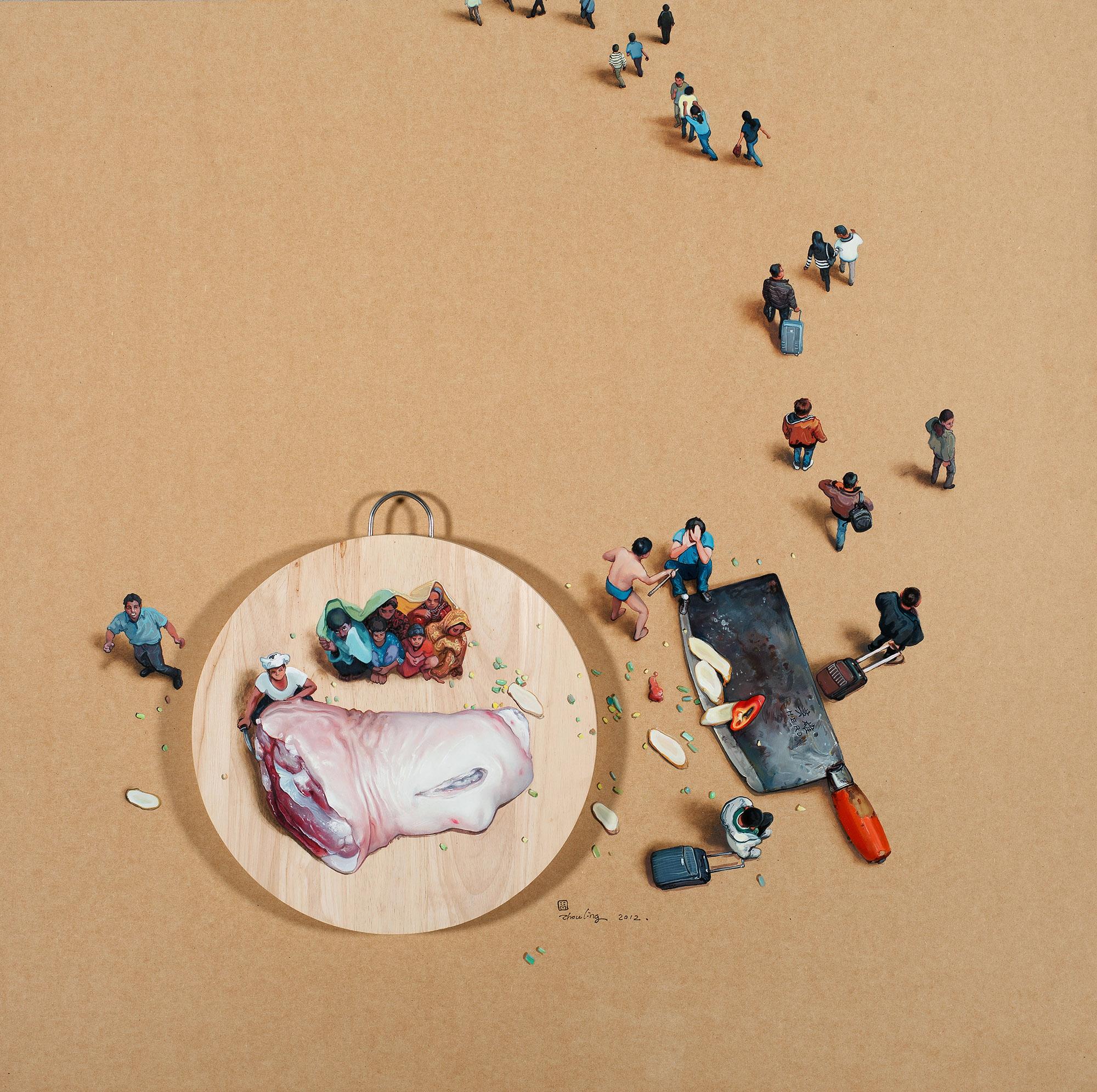 Zhou Jinhua 周金华, Sphere of Life 生活场, 2012, Oil on board 木板油画, 100 x 100 cm