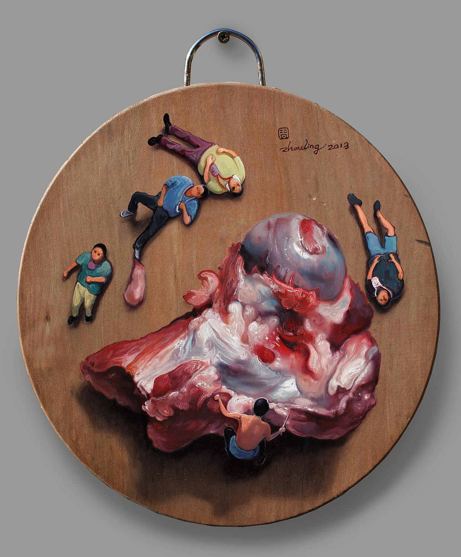 Zhou Jinhua 周金华, Chopping Block No.15 砧板 No.15, 2013, Oil on chop board 木板油画