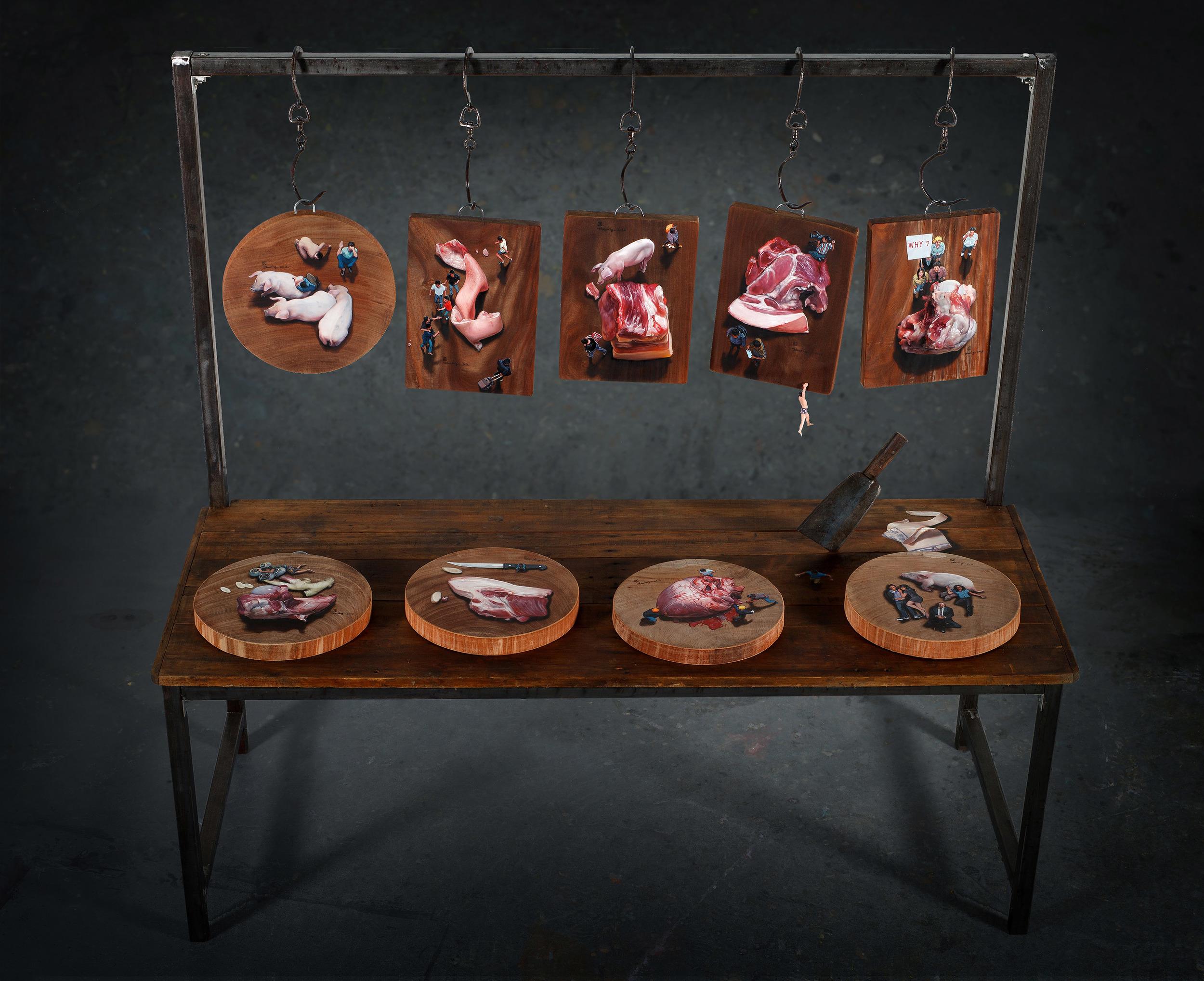 Zhou Jinhua 周金华, Chopping block 肉案, 2012, Painting Installation 绘画装置, 190 x 180 x 76 cm