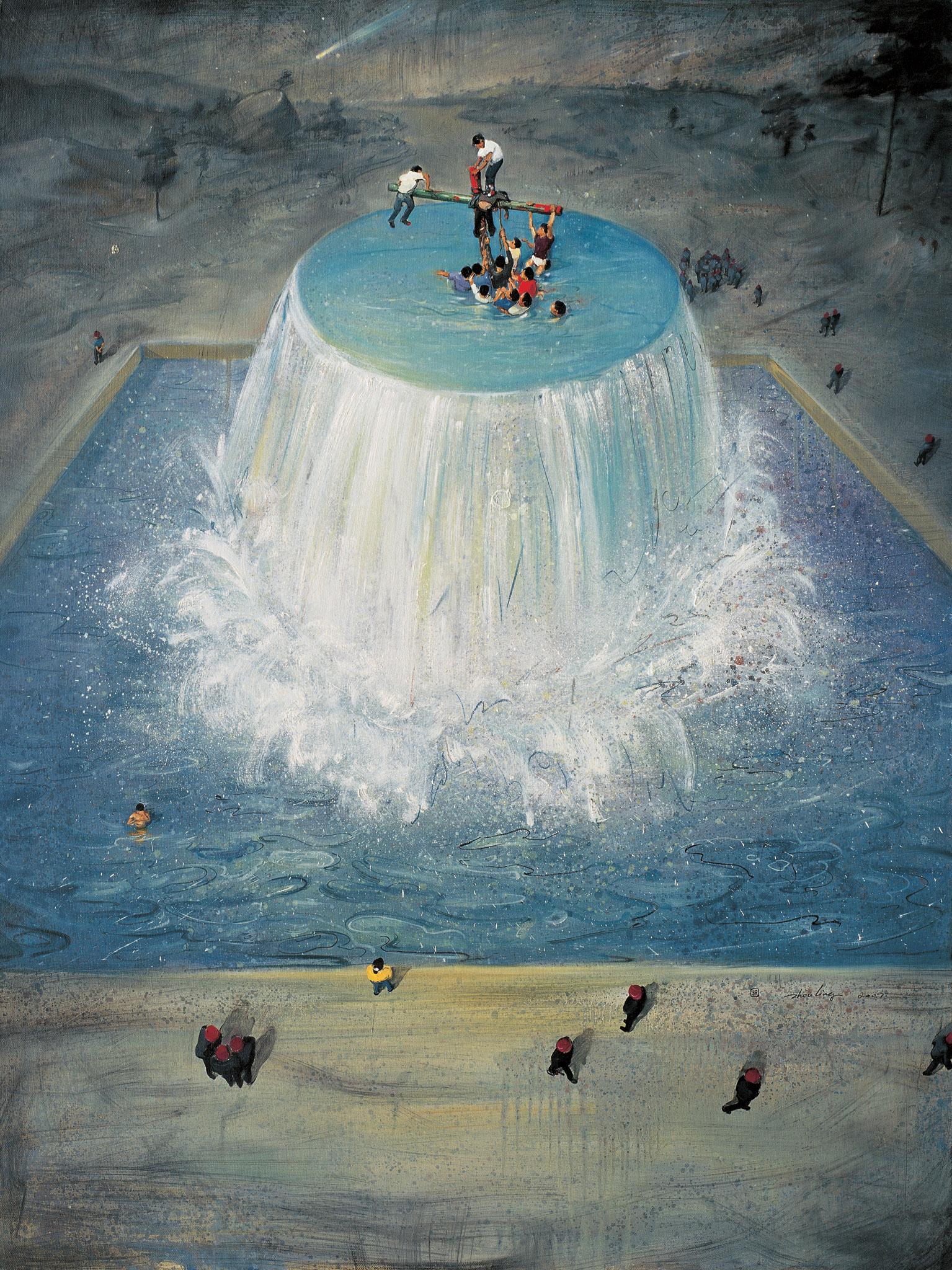 Zhou Jinhua 周金华, Fountain  No.1 源泉 No.1, 2007, Oil on canvas 布面油画, 145 x 110 cm