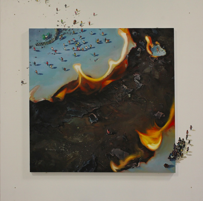 Zhou Jinhua 周金华, Shining Moment 闪亮的瞬间, 2009-2012, Oil on canvas 布面油画, 220 x 220 cm