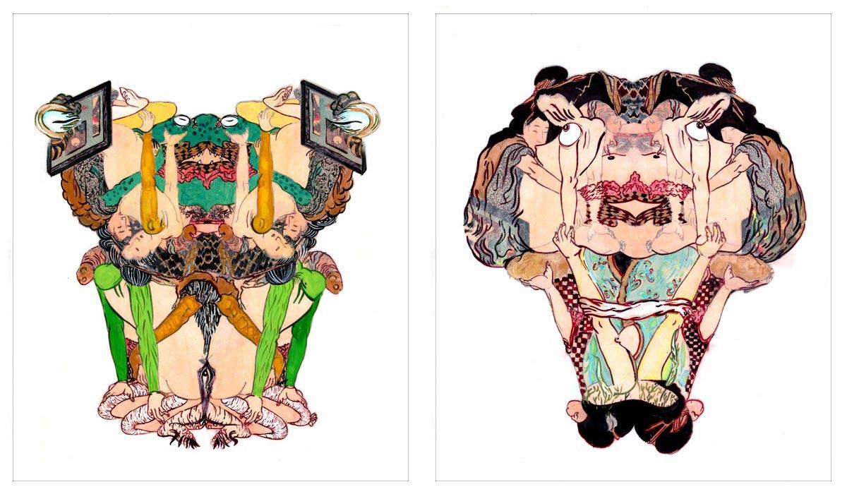 Howie Tusi 徐浩恩, Of Shunga & Monsters 春画与怪兽, 2007 - 2008, acrylic, ink and collage on mylar 聚脂薄膜、丙烯、墨与拼贴
