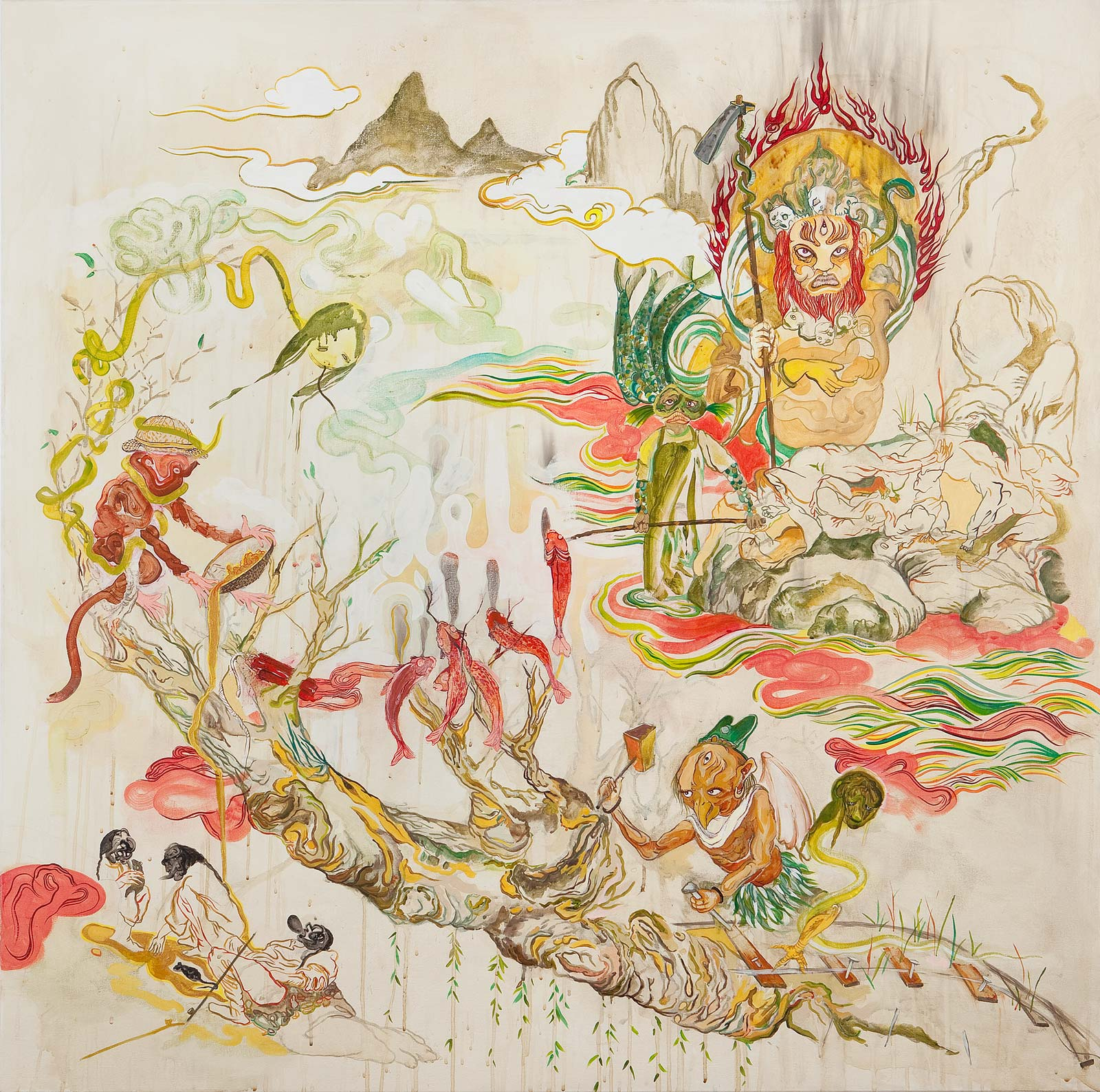 Howie Tsui 徐浩恩, Celestials of Gold Mountain 金山仙人, 2010, Acrylic on canvas 布面丙烯, 120 x 120 cm