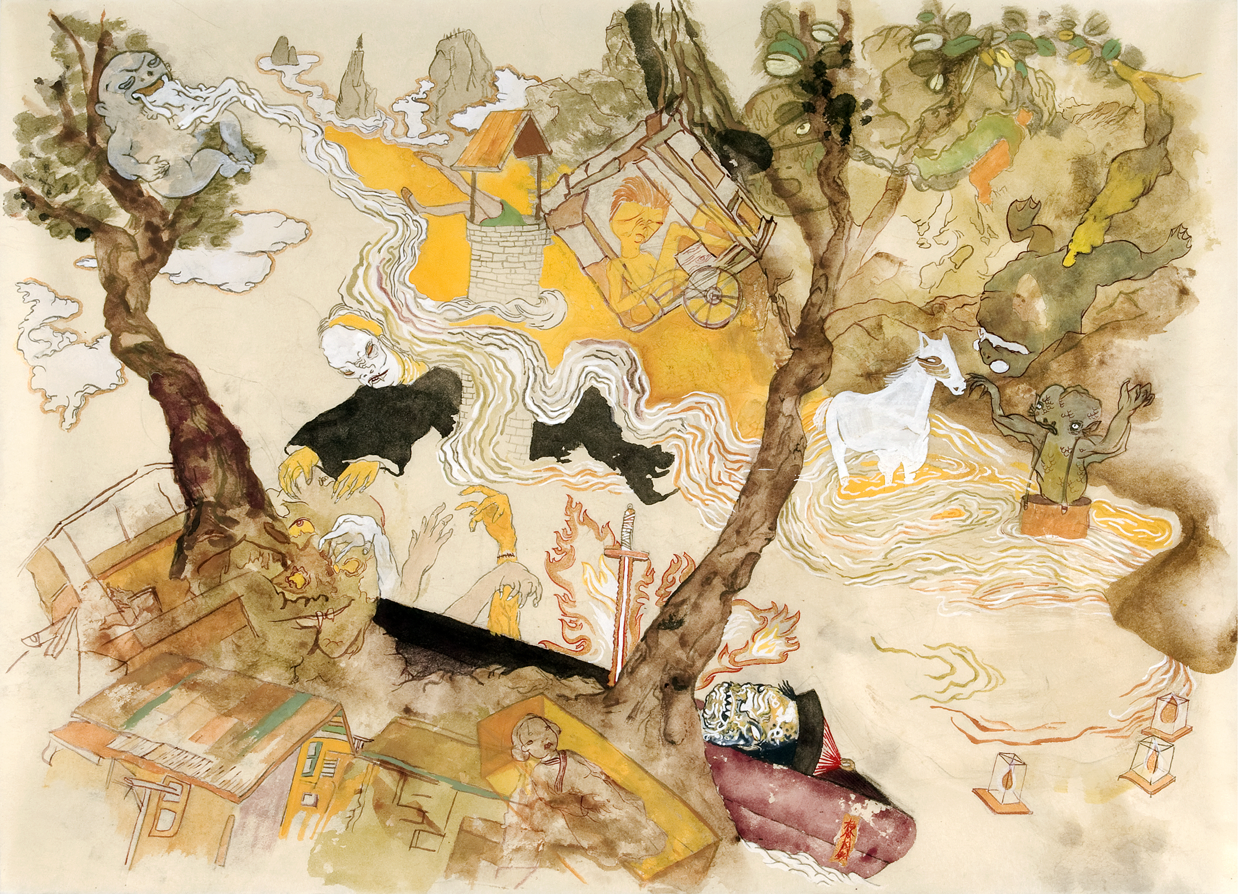 Howie Tsui 徐浩恩, Gangshi Creek 僵尸河, 2008, ink and paint pigments on mulberry paper 桑皮纸、颜料与墨, 47 x 63 cm
